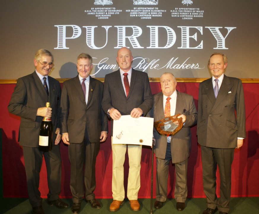 (Left to right) Richard Purdey, Adrian Walker, Neil Brown, Albert Roux, Lord Douro