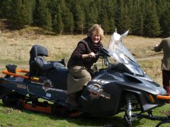 Rosey trying out Snowmobile Scotland Snowmobile